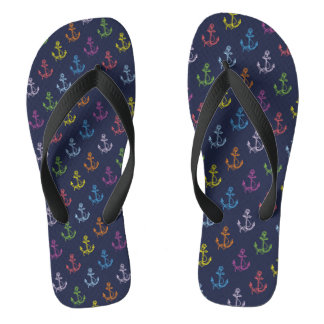 Multi-Color Nautical Boat Anchors Pattern Flip Flops
