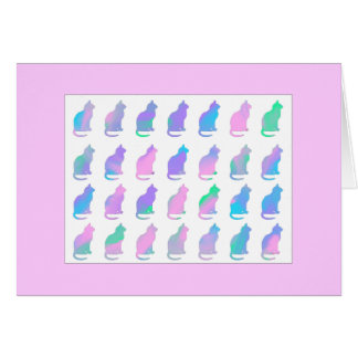 Multi-Color Pastel Abstract Swirls Cats Pattern Card