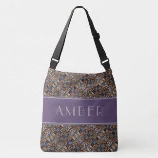 Multi-color Pattern Purple Gray Custom Name Crossbody Bag