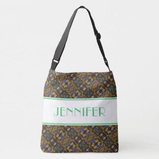 Multi-color Pattern White Green Custom Name Crossbody Bag