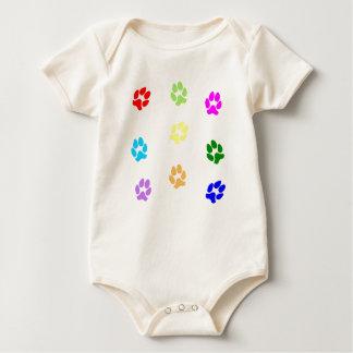 Multi-Color Pawprints Baby Bodysuit