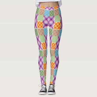 Multi Color Plaid and Stripes Legging