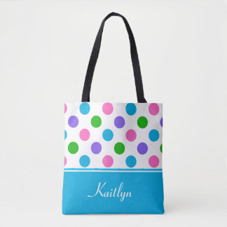 Multi-Color Polka Dots and Blue | Personalized Tote Bag