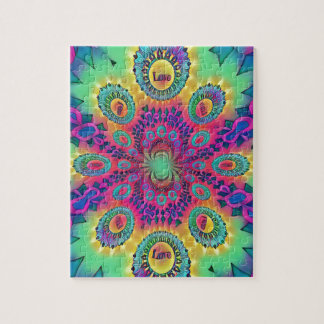Multi-Color Psychedelic Love is Love Retro Pattern Jigsaw Puzzle