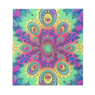 Multi-Color Psychedelic Love is Love Retro Pattern Notepad