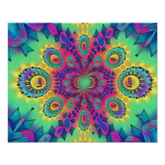 Multi-Color Psychedelic Love is Love Retro Pattern Poster