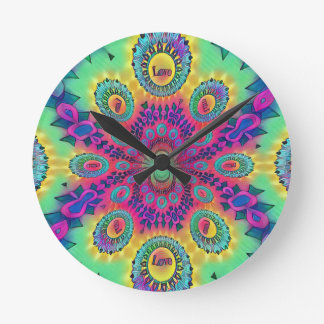 Multi-Color Psychedelic Love is Love Retro Pattern Round Clock