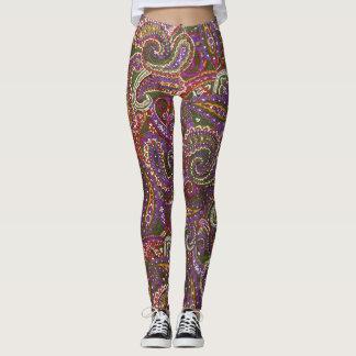 Multi-Color Purple Decorative Paisley Leggings