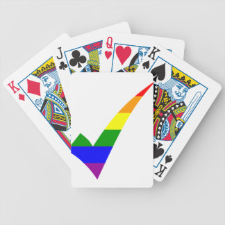 Multi-Color Rainbow Check Mark Bicycle Playing Cards