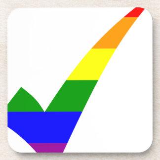 Multi-Color Rainbow Check Mark Coaster