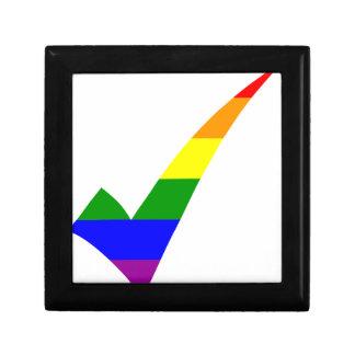 Multi-Color Rainbow Check Mark Gift Box