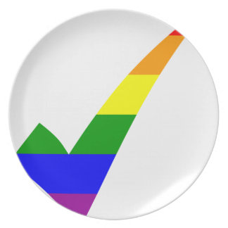 Multi-Color Rainbow Check Mark Plate