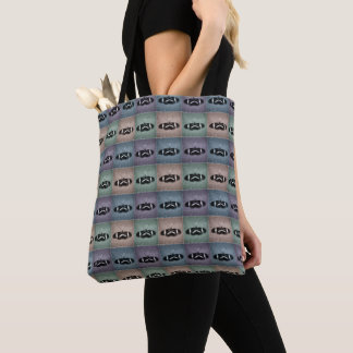 Multi-Color Repeat Pattern Sketch Butterfly Tote Bag