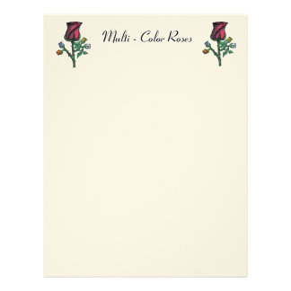 Multi - Color Roses Custom Letterhead