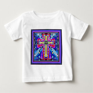 Multi color stained glass Cross Baby T-Shirt