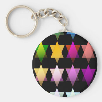 Multi-color Stars of David Basic Round Button Keychain