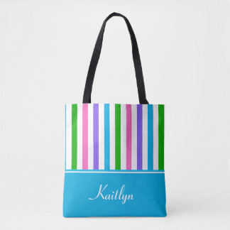 Multi-Color Stripes and Blue | Personalized Tote Bag