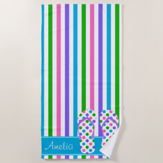 Multi Color Stripes with Flip Flops | Personalized Beach Towel