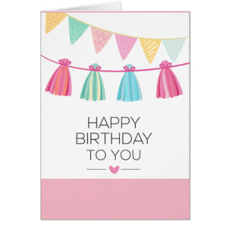 Multi Color Tassel Birthday Card