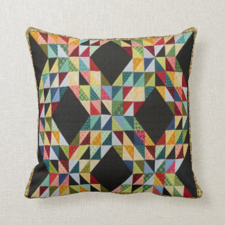 Multi-Color Triangular Patchwork Throw Pillow
