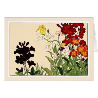Multi-color Wallflowers, Botanicals Art Card