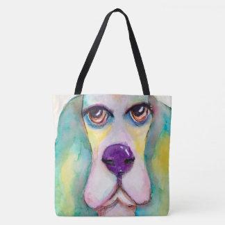 Multi Color Watercolor Basset Hound Tote Bag