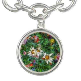 Multi-color wildflower print charm bracelet