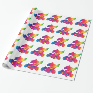 Multi Color Winged Sprint Car Wrapping Paper