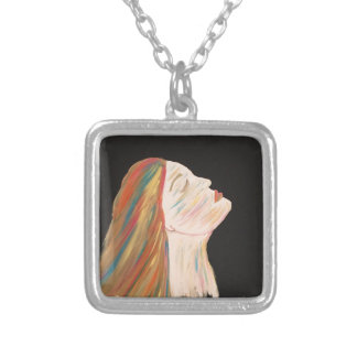 Multi-color Woman Silver Plated Necklace