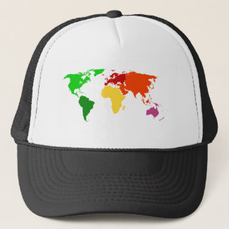 Multi-Color World Map Outline Apparel Trucker Hat