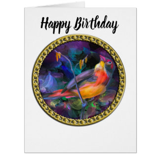 Multi Color yellow and orange swallow bird Card