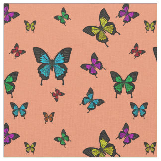 Multi colored 2 Butterfies, Swallow tail Butterfly Fabric