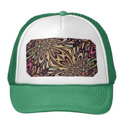 Multi Colored Abstract Floral Pattern Trucker Hat