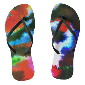 Multi Colored Abstract Motif Flip Flops