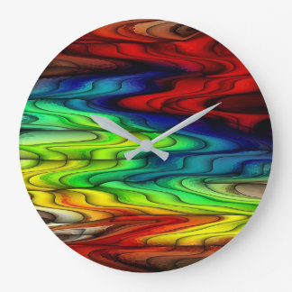Multi Colored Abstract Pattern Large Clock