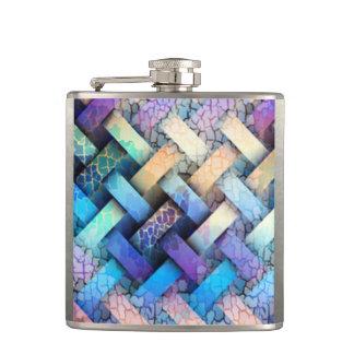 Multi Colored Basket Weave Design Hip Flask