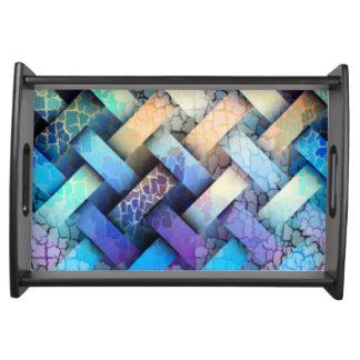 Multi Colored Basket Weave Design Serving Tray