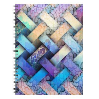 Multi Colored Basket Weave Design Spiral Notebook