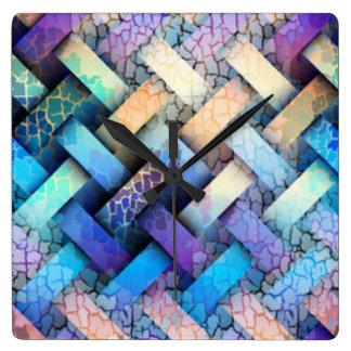 Multi Colored Basket Weave Design Square Wall Clock