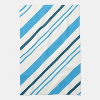 multi-colored blue stripes on white background kitchen towel