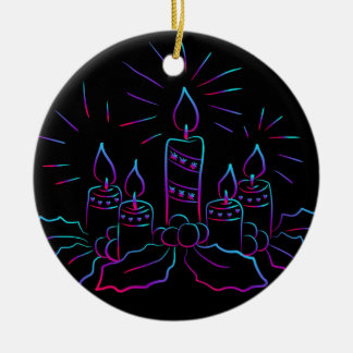 Multi-Colored Candles, Holly and Berries on Black Ceramic Ornament