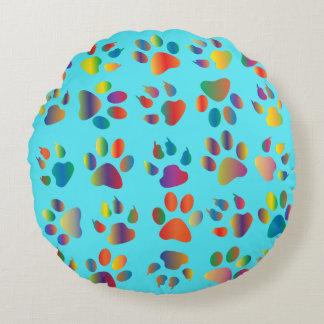 Multi-colored Cat Paws Claws Print on Turquoise Round Pillow