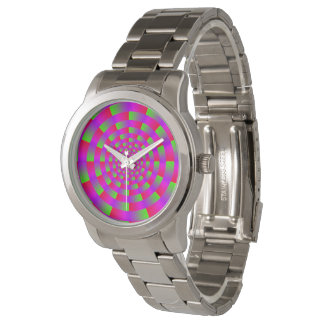Multi-colored Circle Vortex Illusion, Pink / Green Watches