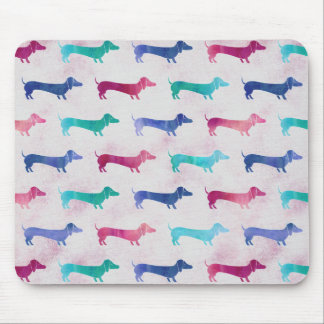 Multi-colored Dachshund Pattern Mouse Pad
