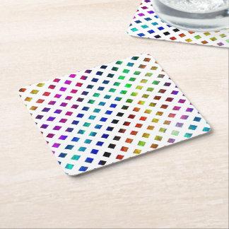 multi-colored Diamonds Square Paper Coaster
