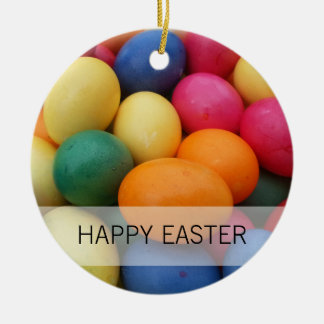 Multi colored Easter Eggs Festive Round Ceramic Ornament