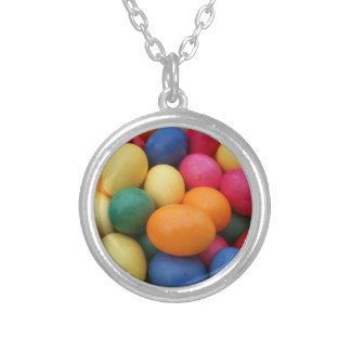 Multi colored Easter Eggs Festive Silver Plated Necklace
