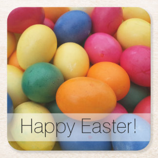Multi colored Easter Eggs Festive Square Paper Coaster