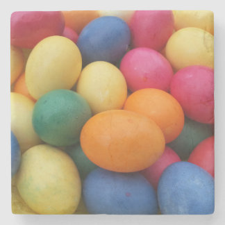 Multi colored Easter Eggs Festive Stone Coaster