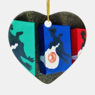 multi colored egg rubber chicken ceramic heart ornament